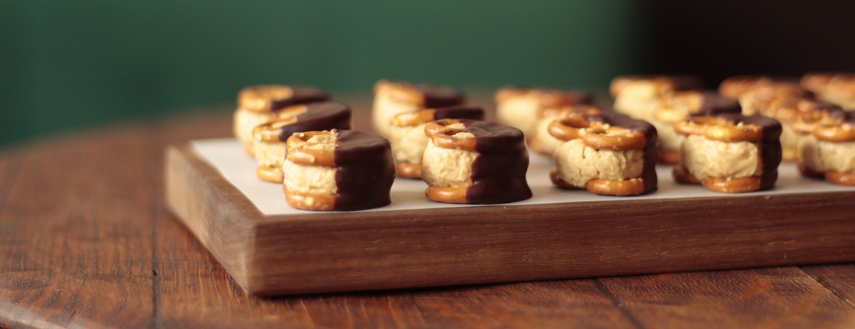 Chocolate dipped peanut butter pretzels