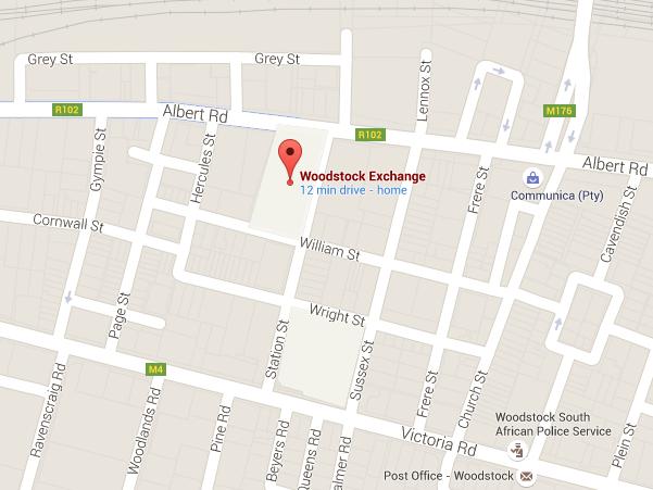 woodstock exchange cape town map